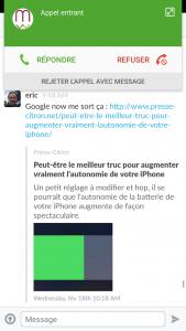 La notification d'appel sur Touchwiz Android 5.1